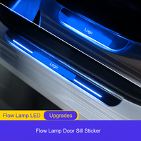 QHCP 4Pcs/Set Moving Light LED Welcome Pedal Acrylic Lamp External Door Sill Plate Scuff Cover Protector For Toyota Camry 2018