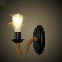 American wall lamp Bedside lamp Retro Wall lamp Staircase aisle Countryside Hemp rope Iron art Lamps and lanterns LW513541PY