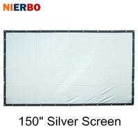 NIERBO 150 дюймов дома Театр Экран серебро 3D проекция металлический быстро раза Портативный настенный большой Размеры Кино проектор