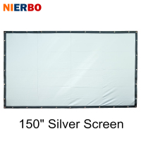 NIERBO 150 Inch Home Theater Screen Silver 3D Projection Metal Fast Fold Portable Wall Mountable Large Size Cinema Beamer