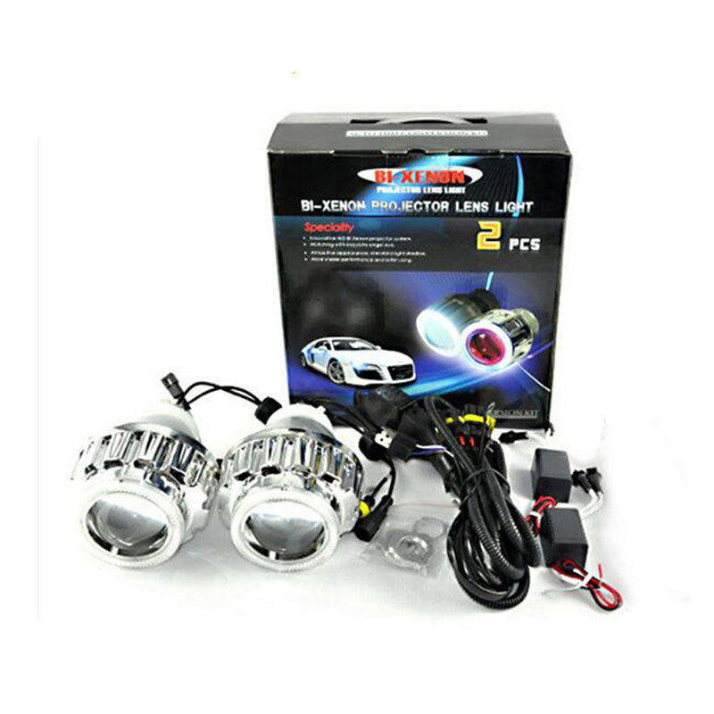 RACBOX 35W 2.8inch HID Bi Xenon Projector Lens Light LHD H1 H4 H7 6000K White CCFL Angel Eyes 6000K Xenon Bulb For Car Headlight