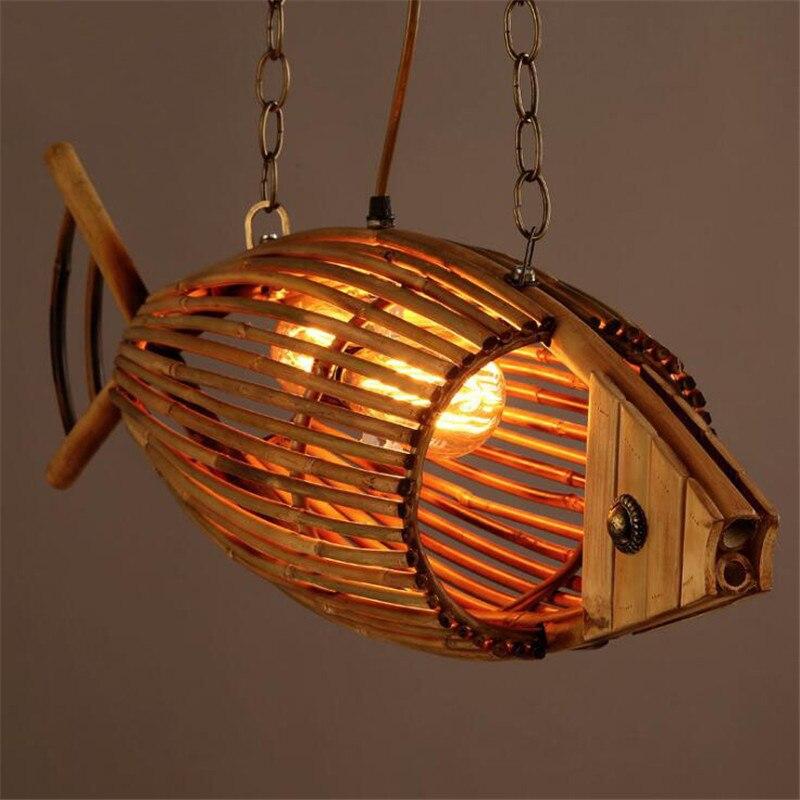 Творческий деревянного зодчества японском стиле рыбы Форма ресторан люстра Ретро Кафе бар суши магазин светильник украшения Бесплатная до