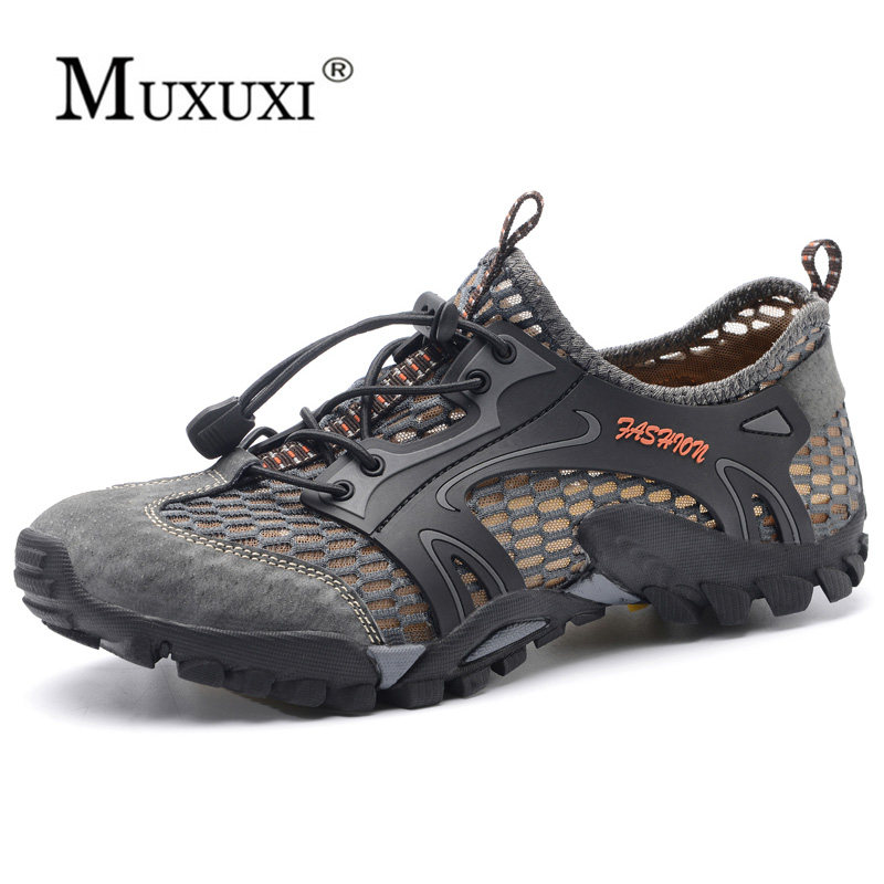 Summer Breathable Mesh Shoes Mens Casual Shoes Cow Suede Leather Adult Walking outdoor Shoes Man Soft Comfortable in Men 39 s Casual Shoes from Shoes
