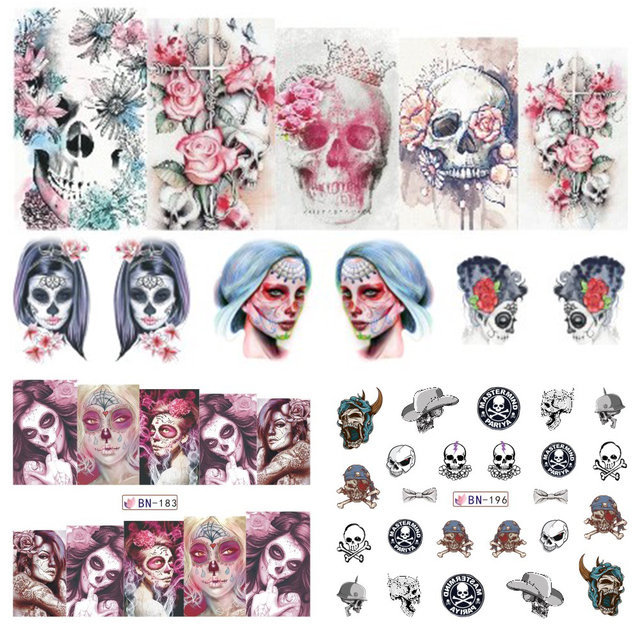 12 designs set halloween flower skull witch nail art water transfer sticker decor girl decals