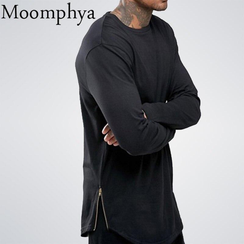 Moomphya/Fashion Уличная одежда футболка мужская EX T конец SWAG сбоку zip футболка Супердлинная футболка с длинными рукавами Wi T H кривой подол и молния