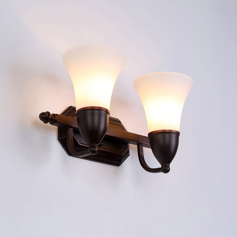Vintage Glass Wall Lamp Bedroom Bedside Aisle Stair Light Sconces Black Iron White Lampshade Home Lighting Fixtures E14 110-220V