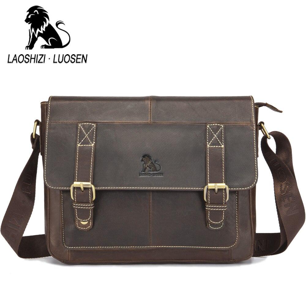LAOSHIZI LUOSEN Vintage cuir de vachette hommes Messenger sac en cuir véritable sac à bandoulière hommes sac à bandoulière fronde loisirs Bag91204