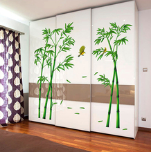 Removable Green Bamboo Printed Wall Stickers