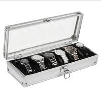 6 Grid Insert Slots Jewelry Watches Display Storage Box Case Aluminium Jewelry Box Jewelry Decoration
