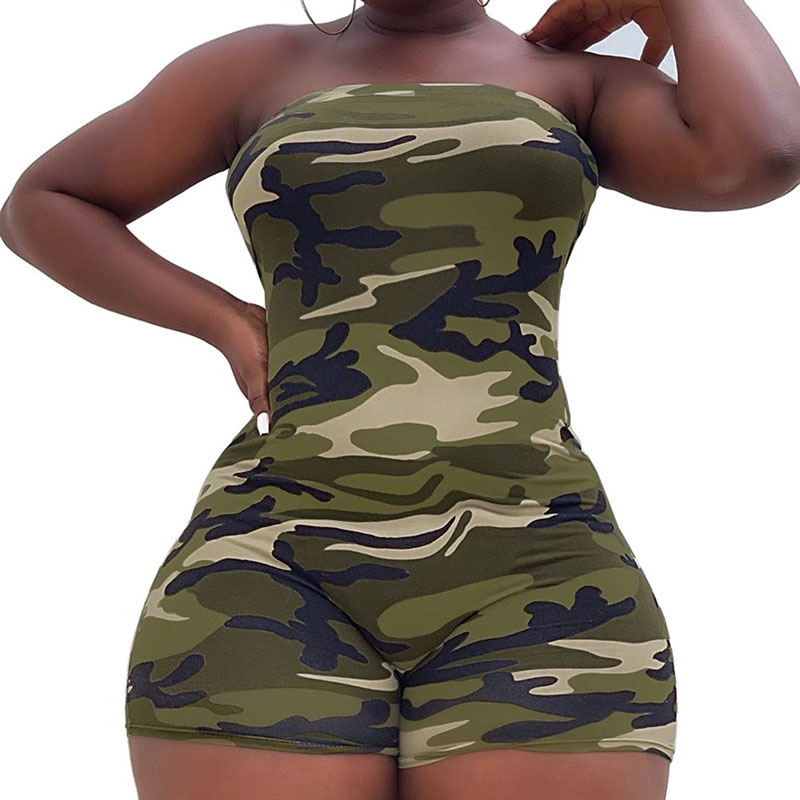 Women Fashion Camouflage Print Jumpsuits Rompers Short Sleeveless Rompers Overalls Summer Playsuits Rompers(China)