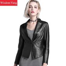 3xl Black Real Sheepskin Genuine Leather Short Jackets Coat Women Long Sleeve Office Ladies Overcoat Suit Jacket Coats Outerwear