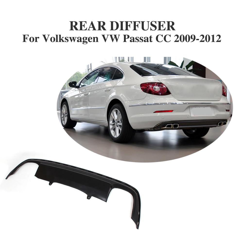 Matt Black PU Auto Rear Bumper Diffuser Lip Spoiler Fit For Volkswagen VW Passat CC 2009-2012 Car Tuning Parts