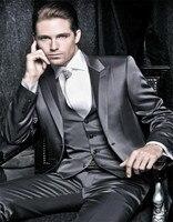 r Shiny Charcoal Grey Tuxedo Custom Made Wedding Groom Suit Shiny ,Bespoke Glossy Grey Four Piece Suit
