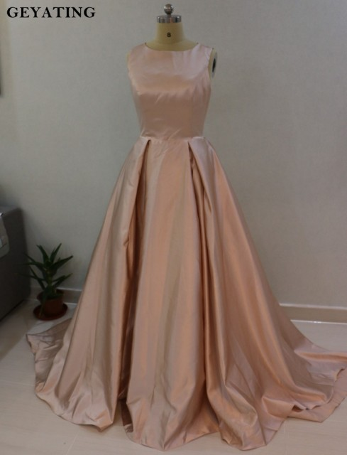 2018 Rose Gold Puffy Ball Gown Evening Dress Vestidos De Fiesta O