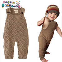 New 2019 Spring Winter Baby Boys Knitted Romper Sleeveless Cotton Plaid Overalls Infant Girls Jumpsuit Onesie Playsuit Clothes