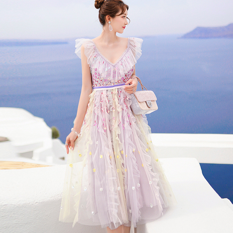 Nouveau Design de luxe femmes douce longue robe maille volants plissé 2019 été femme vacances plage robe de soleil perles paillettes Vestido