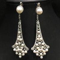 long drop earrring natural fresh water pearl earring fine women jewelry 925 sterling silver free shipping tiny pearl