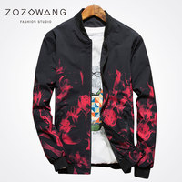 Zozowang Sping Autumn New Plus Size Short Casual Jacket Coat Men High Quality Solid Print Rose