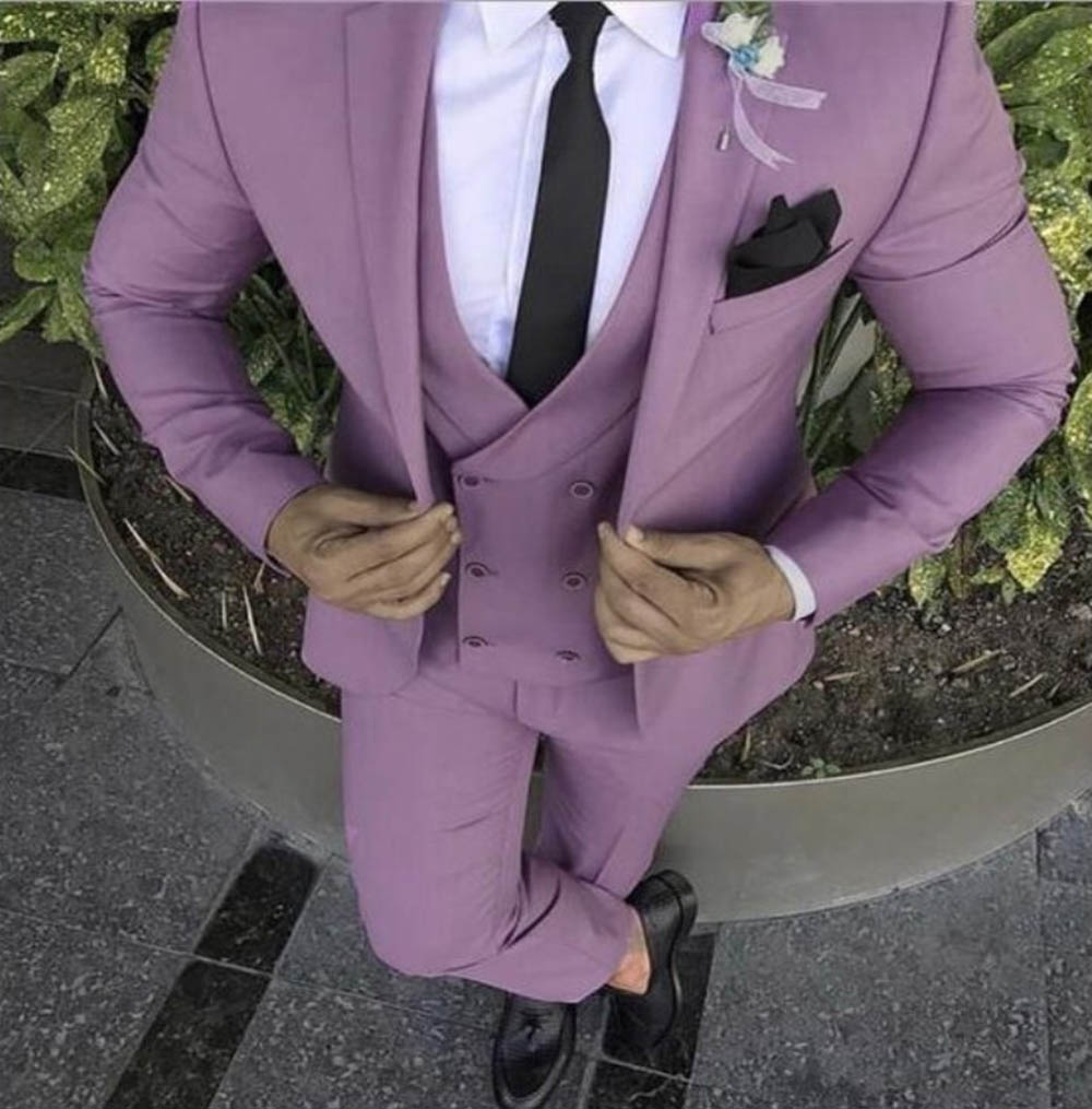 Mens Violet Suits With Double-breasted Vest 3 Pieces Slim Fit Formal Shawl Lapel Tuxedos Groomman For Party( Blazer+Vest+Pants )