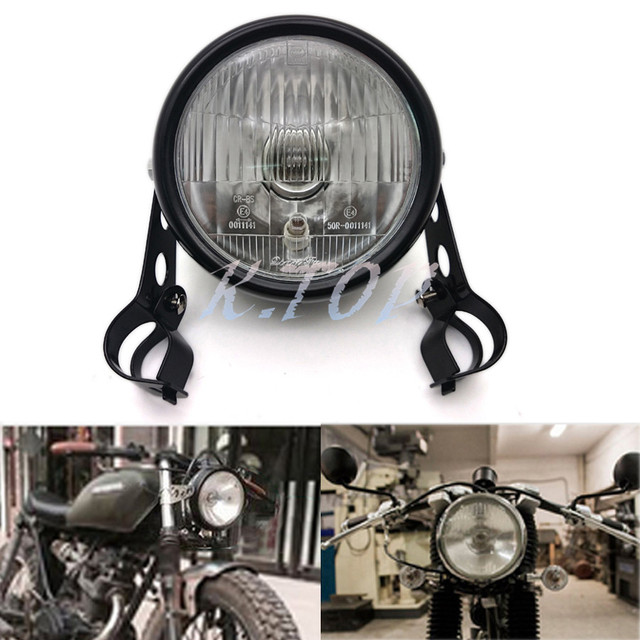 US $32 98 |New Black Metal Retro Front Headlight WIth 28 34mm fork tubes  Headlight bracket For Cafe Racer Bobber Custom Motorcycle on Aliexpress com  |
