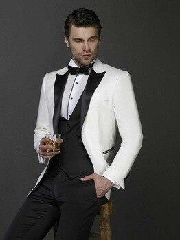 Hot Sale Two Buttons Ivory Groom Tuxedos Peak Lapel Groomsmen Mens Wedding Prom Suits (Jacket+Pants+Vest+Tie) NO:100