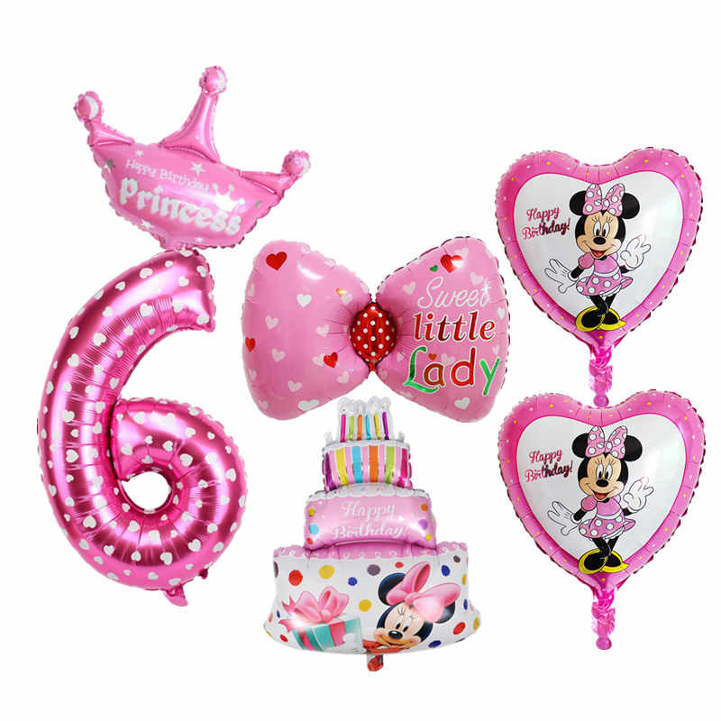 6pcs Kids 6 Years Old Happy Birthday Cake Balloon Set Number Foil Balloons For Baby