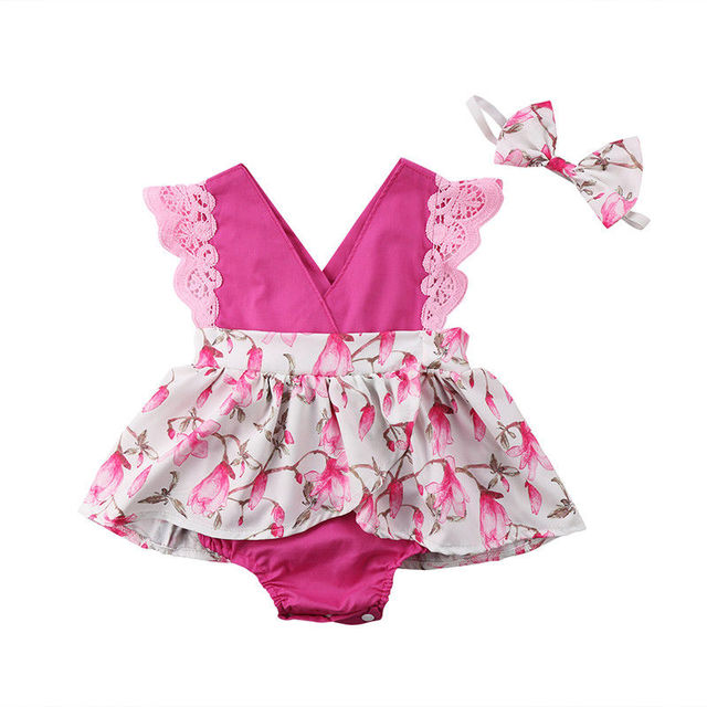96213a8abf2 Newborn Kids Baby Romper Girls Sisters Dress Floral Summer Backless Jumpsuit  Dress Outfits Set Cute Girl Clothes