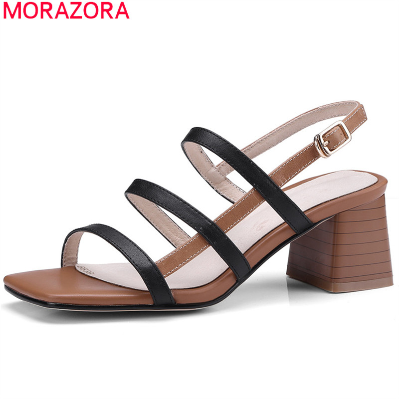 MORAZORA 2018 fashion genuine leather shoes simple buckle women sandals hollow out elegant dress shoes square high heels shoes цена 2017