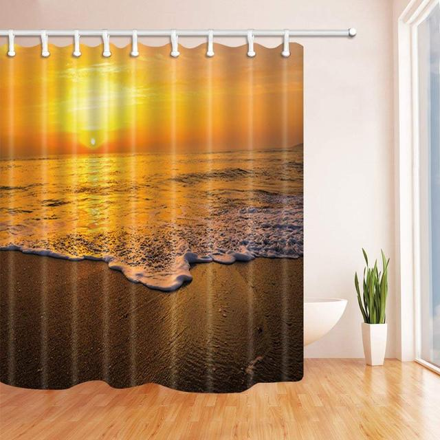 Golden Sunrise Sunset Over The Sea Ocean Waves Shower Curtain Waterproof Polyester Fabric Bathroom Decorations Bath Curtains