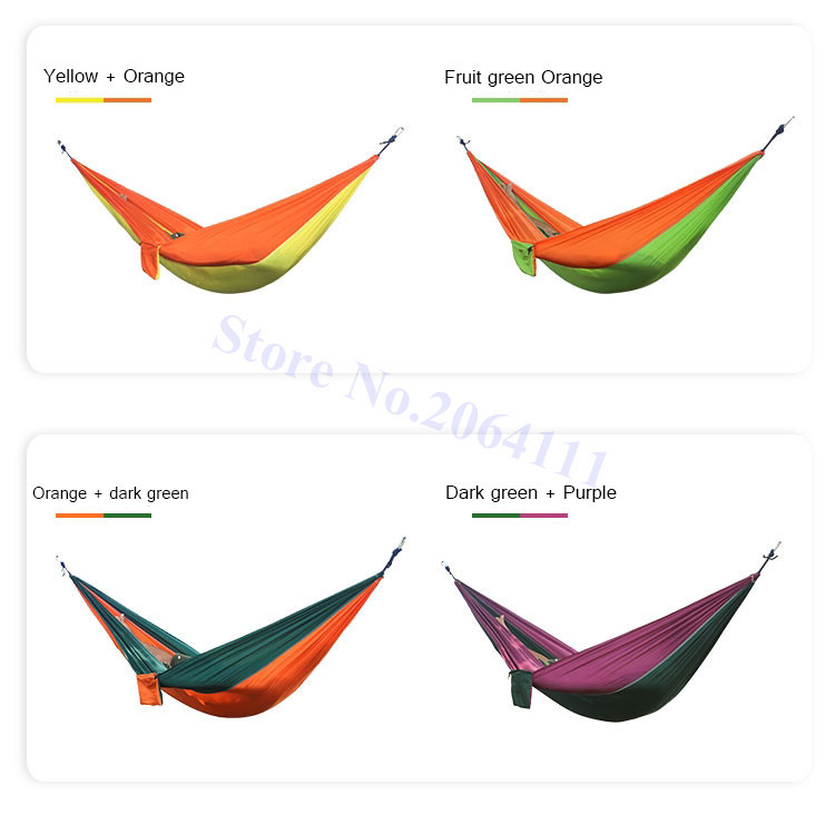 Outdoor double Hammock Portable Parachute Cloth 2 Person hamaca hamak rede Garden hanging chair sleeping travel swing hamac 7