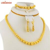 Браслет с бусинами, ожерелье, серьги, Комплект бижутерии, шар для женщин золотого цвета, для Африки/арабских/Ближнего Востока/