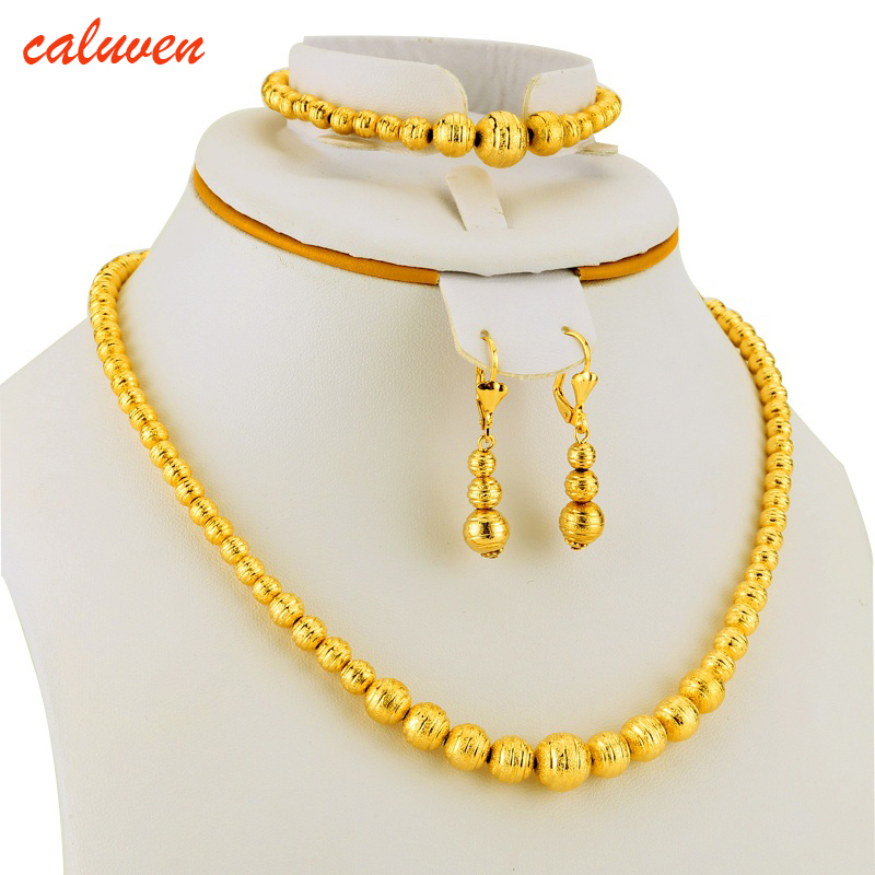 Hot Selling Bead Necklace Earrings Bracelet set Jewelry Ball For Women Gold Color Africa/Arab/Middle East/Ethiopian