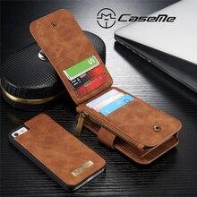 Caseme бренд натуральной кожи handy чехол для iphone 5S se съемный флип бумажник аргументы за крышки iphone5 телефон случаях