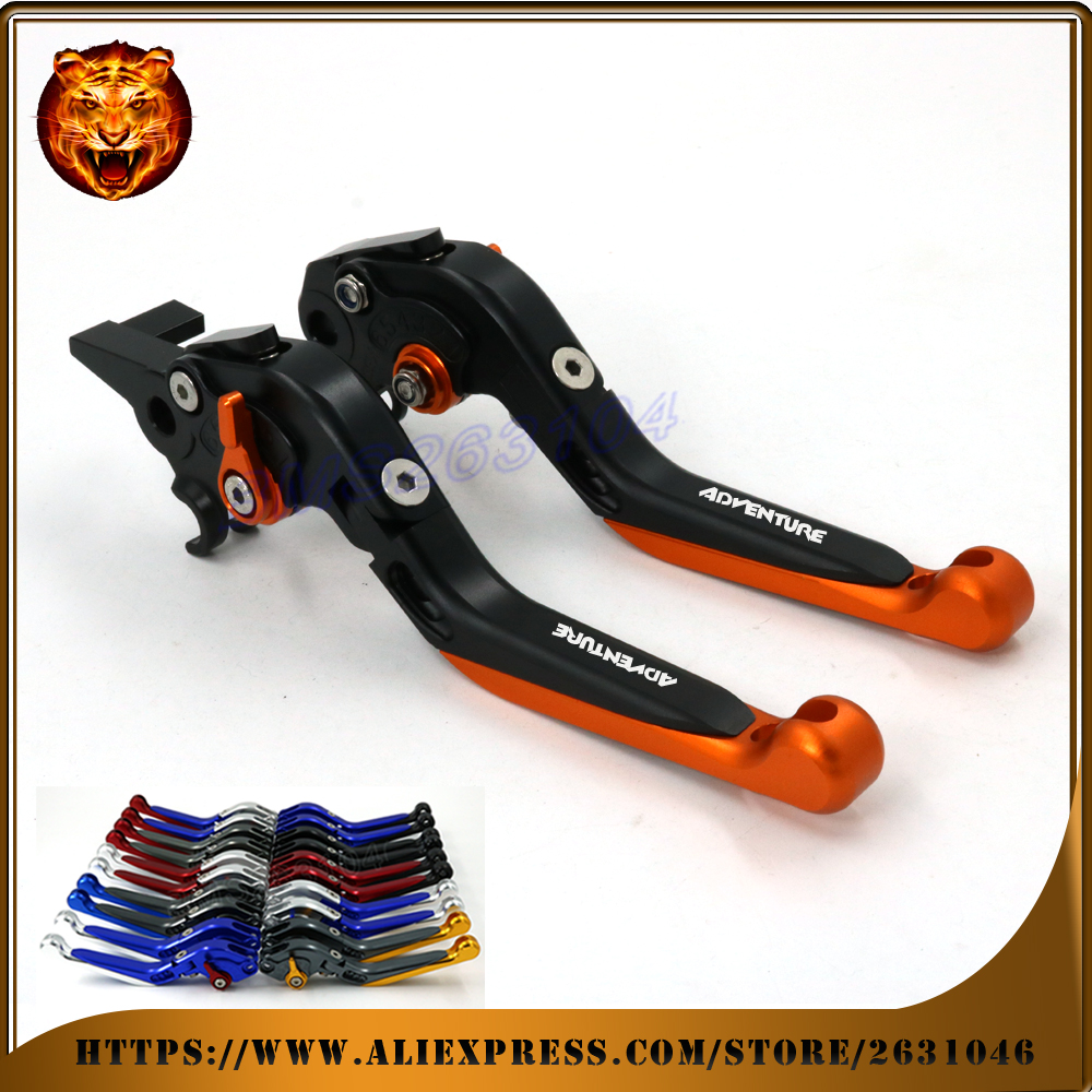 Adjustable Folding Extendable Brake Clutch Lever For KTM 640 950 990 ADVENTURE 04 05 06 11 12 13 LOGO Free shipping Motorcycle