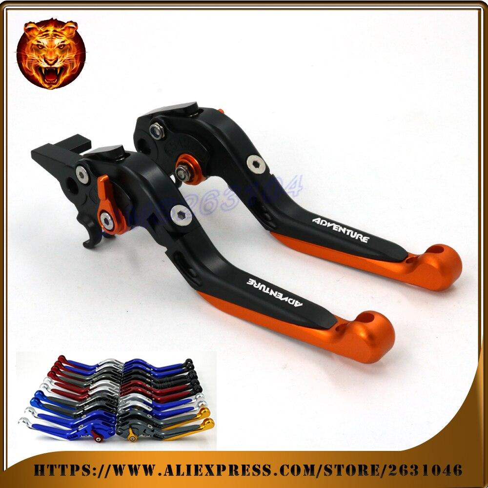 Levier d'embrayage de frein extensible pliable réglable pour KTM 640 950 990 aventure avec LOGO moto Racing 2004 2006 2009 2013