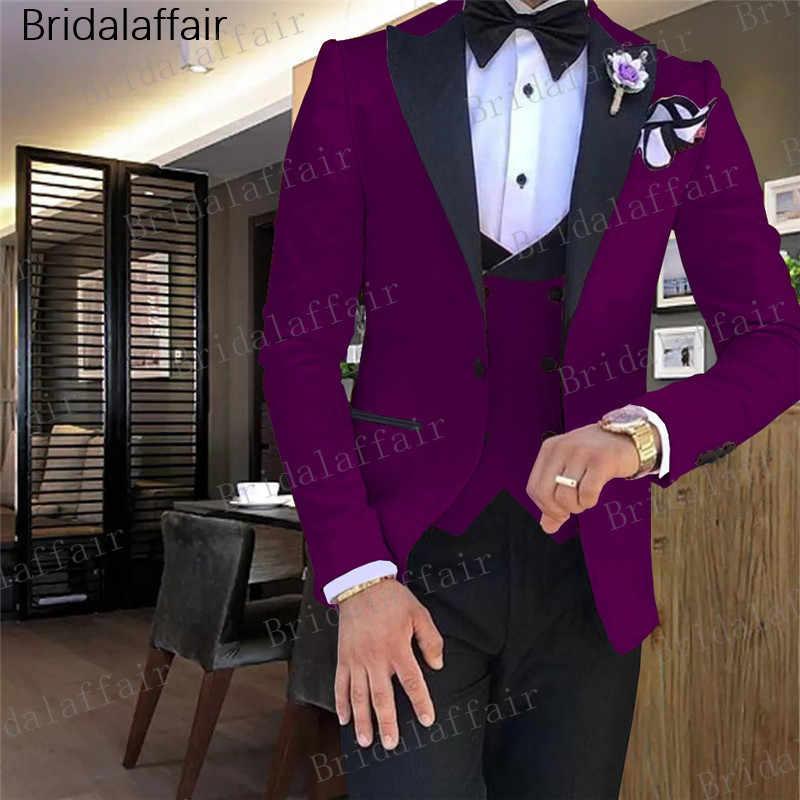 Gwenhwyfar mężczyzn garnitur garnitury ślubne dla mężczyzn z daszkiem kołnierz 3 sztuk Slim Fit fioletowy garnitur męskie Royal Blue smokingi kurtka spodnie kamizelka
