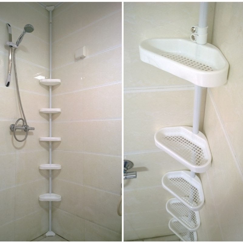 Plastic bathroom storage rack 4 5 layers adjustable shower for Bathroom 4 less review