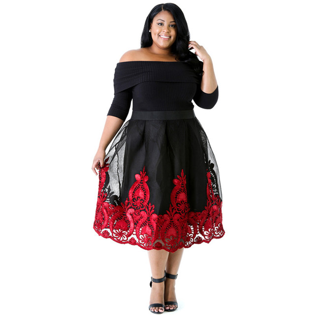 5404949d9f13 Cfanny 2017 Red Lacy Embroidery Tulle Curvy Skater Dress Women Elegant  Summer Dress Plus Size XXXL Sexy Evening Party Dresses