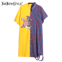 TWOTWINSTYLE Printed Plaid Summer Dress Women Long T Shirt Mini Shirt Dresses Female Short Sleeve Casual