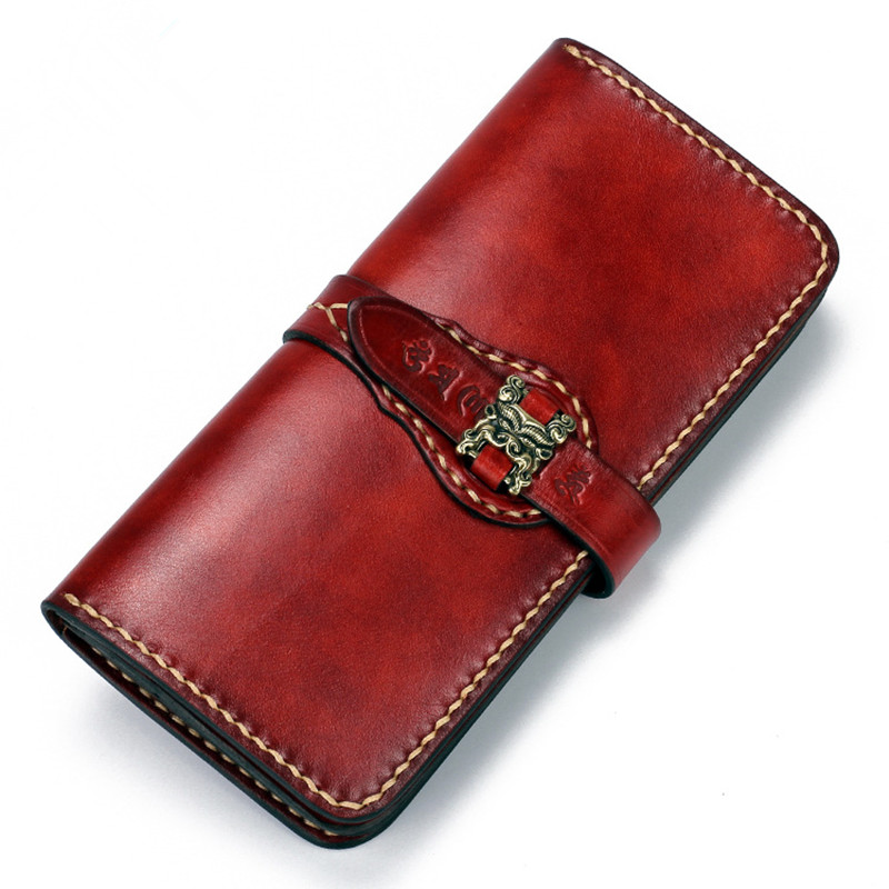 2018 Brown Cow Leather Wallets Embossing Modes of Ancient Chinese Music Hasp Bag Purses Women Men Long Clutch Wallet Card Holder brand double zipper genuine leather men wallets with phone bag vintage long clutch male purses large capacity new men s wallets