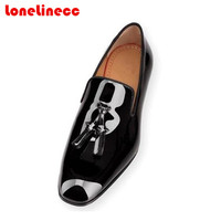 2017 Hot Sale Spring/Autumn Tassel Men Black Patent/Matte Leather Shoes Red Bottom Wedding&Party Shoes Flat Casual Shoes Size 47