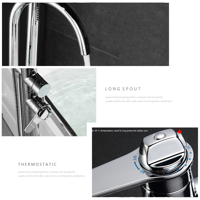 quyanre wanfan frap thermostatic bathtub shower chrome floor standing faucet dual handles thermostatic mixer tap bathroom shower faucets3