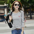 Embroidery Tshirt Stripes T-Shirt Cotton T Shirt Women Korean Clothes 2017 Long Sleeve Tops Plus Size Haut Femme Manche Longue