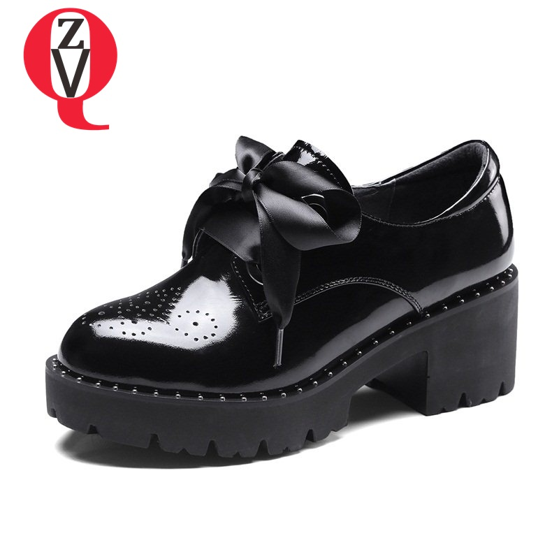 где купить ZVQ 2018 shoes woman riband lace-up princess high heels thick shoes manual good quality platform zapatos mujer casual date shoes по лучшей цене