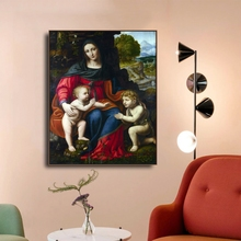 Laeacco Classic Wall Art The Virgin and Child with Saint John Posters Prints Canvas Painting Home Decoration Living Room Decor