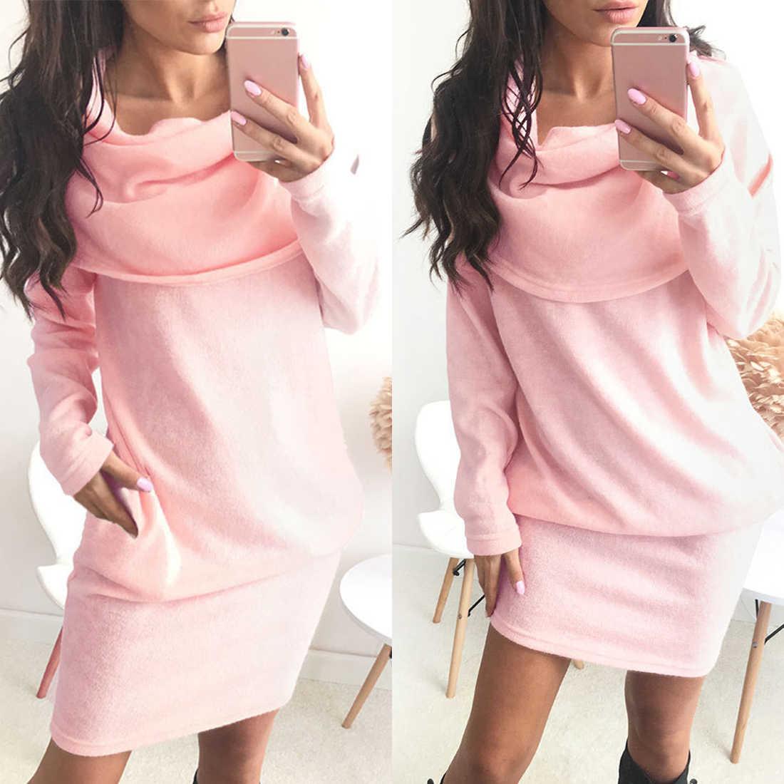 94ea9909c527 Women Winter Dress 2018 Knitted Dress Turtleneck Long Sleeve Slim Loose  Dress Sweaters Pullovers Plus Size