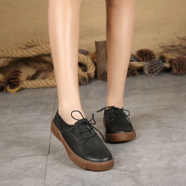 4d2e108657bada Women Casual Leather Shoes Breathable Lace Up Flats Sneakers Formal shoes  Ladies Black Brown Oxfords Round Toe 128 12-in Women's Flats from Shoes on  ...