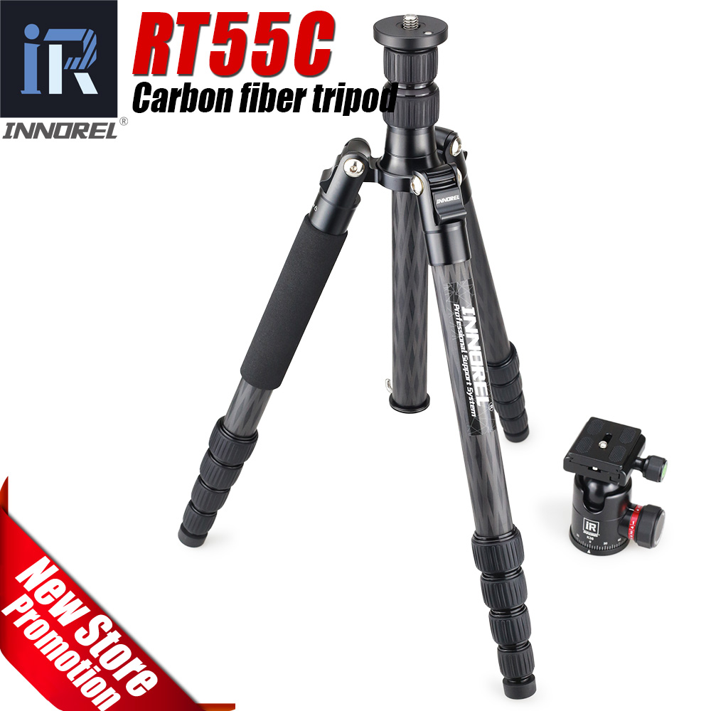 RT55C Professional carbon fiber camera tripod 12kg bear video travel portable DSLR tripod 5 Sections ball head for CANON NIKON load 15kg manbily cz 302 5 sections carbon fiber walking stick video monopod tripod with kf 0 ball head for dslr camera