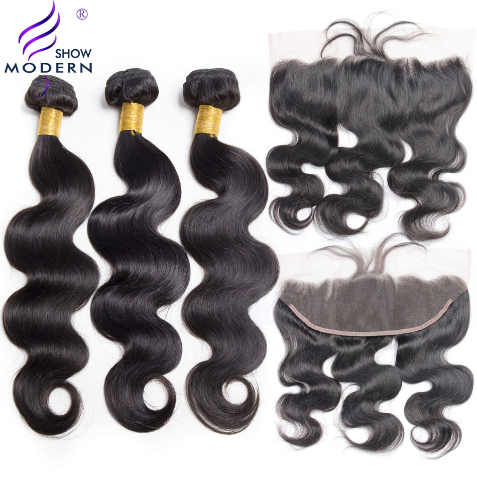 Brazilian Body Wave 3 Bundles With Frontal Closure Non Remy Human Hair Weave Bundle Pre Plucked Lace Frontal Closure With Bundle