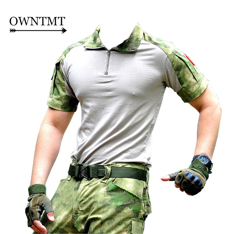 Summer Camouflage T-shirt Men Cotton Army Tactical Combat T-shirt Military Sport Camo Cp Acu Camp Short Sleeve Outdoor Clothing